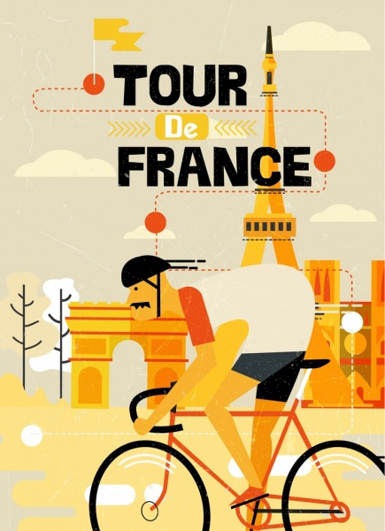 france bicycle tournament banner bicyclist icon classical design