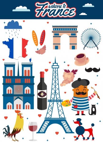 france tourism advertisement multicolored symbols decoration