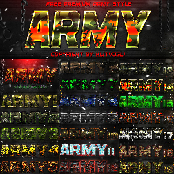 free army text style free psd in photoshop psd psd