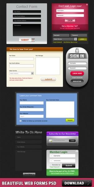 Free Beautiful Web Forms PSD