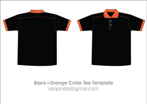 Free Black & Orange Collar T-Shirt Template Free vector in Adobe ...