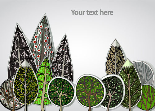 free cartoon trees label vector