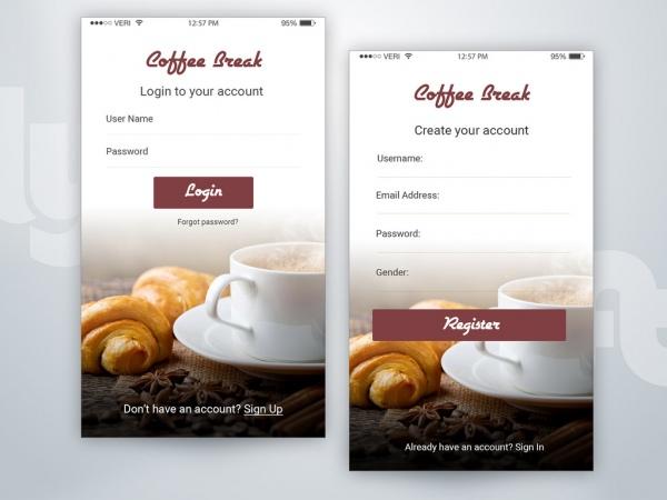 free coffee break mobile ui