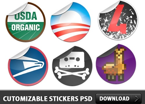 Free Cutomizable Sticker PSD