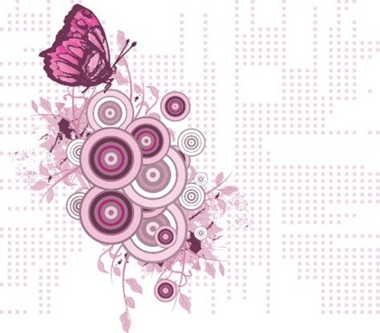 floral butterfly background violet circles decoration