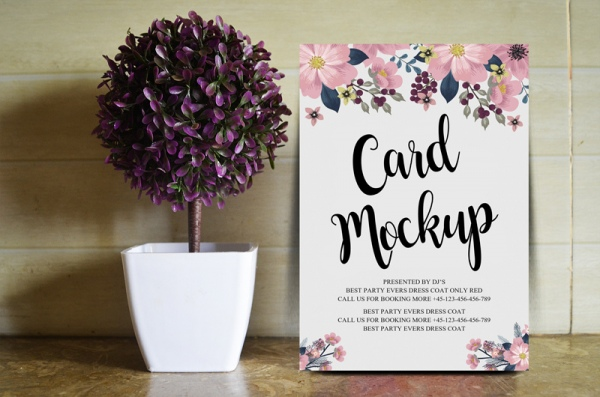 free floral wedding card mockup psd
