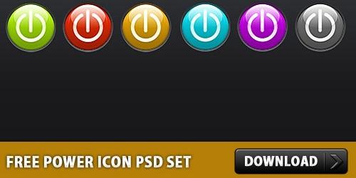 Free Glossy Power Icon PSD Set