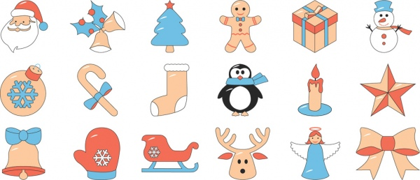 Christmas Items.Free Icon Set Christmas 18 Items Free Vector In Adobe