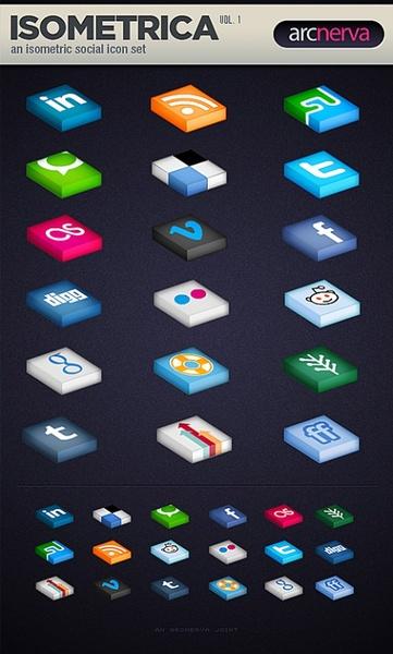 Free Isometrica Social Media Icon Set PSD