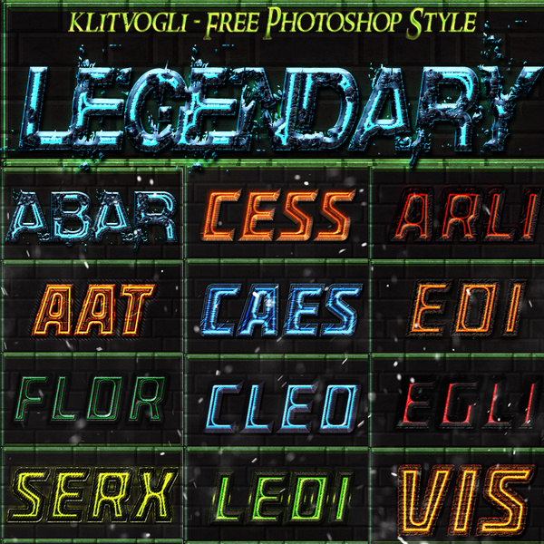 free legendary photoshop style text effect