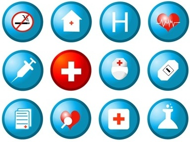 medical sign icons collection colored round design