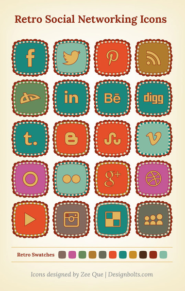 free retro social networking icons
