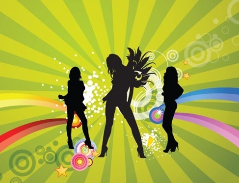 Free Silhouettes of Dancing Girls with Abstract Background Vector Illustration