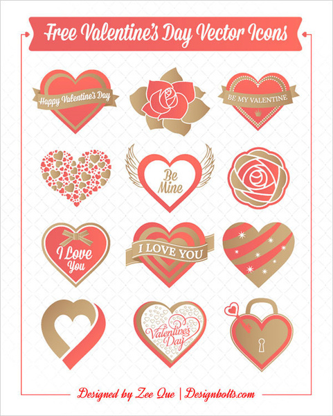 free valentines day hearts rose vector icons