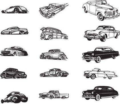 vintage car icons collection black white design