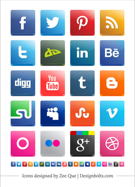 Free Vector 3d Social Media Icon Pack 2012 Including New Twitter  Stumbleupon Pinterest Icons Free Vector 2.38MB