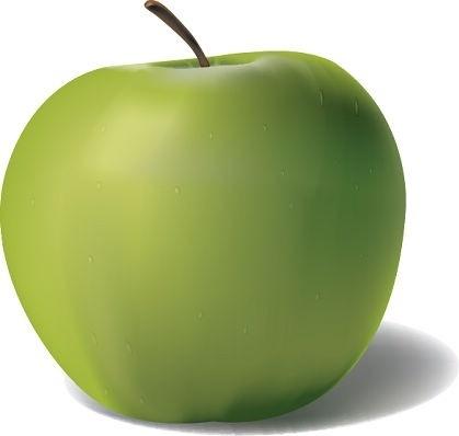 fresh green apple icon closeup realistic design