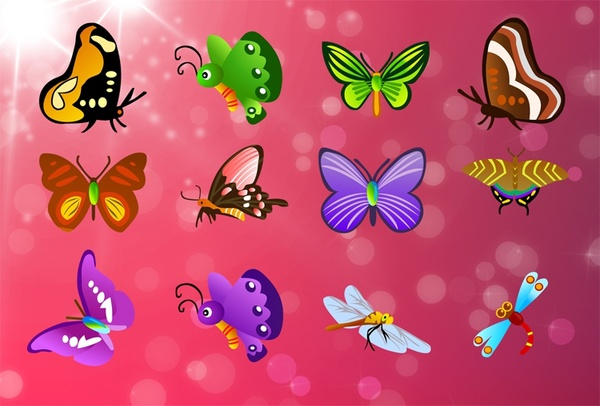 butterfly icons collection various colorful types