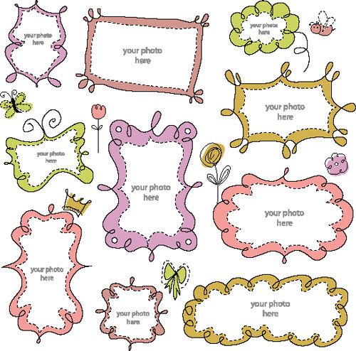 free vector cartoon cute borders free vector in encapsulated