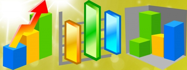 chart icons collection 3d colorful columns design