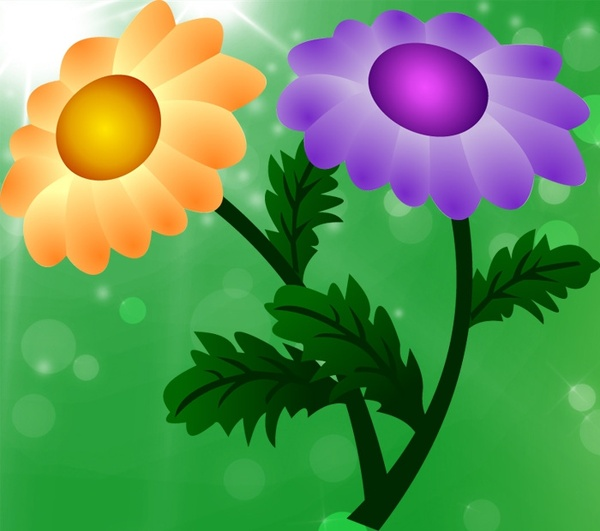 chrysanthemum icon design colorful sparkling cartoon style