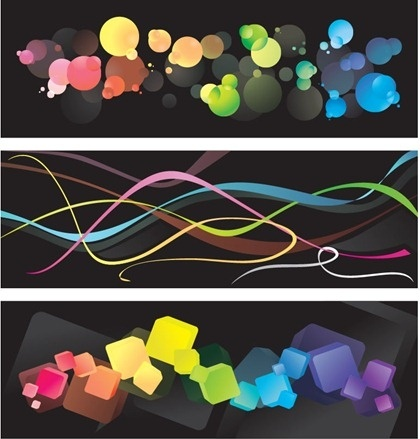 abstract colorful background sets curves bokeh cubic style