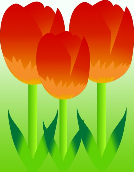 tulips flowers icon design colorful cartoon style design