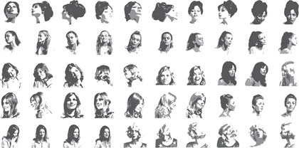 female beauty portraits icons collection black white decoration