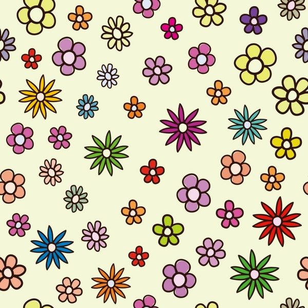 floral pattern background various colorful hand drawn style