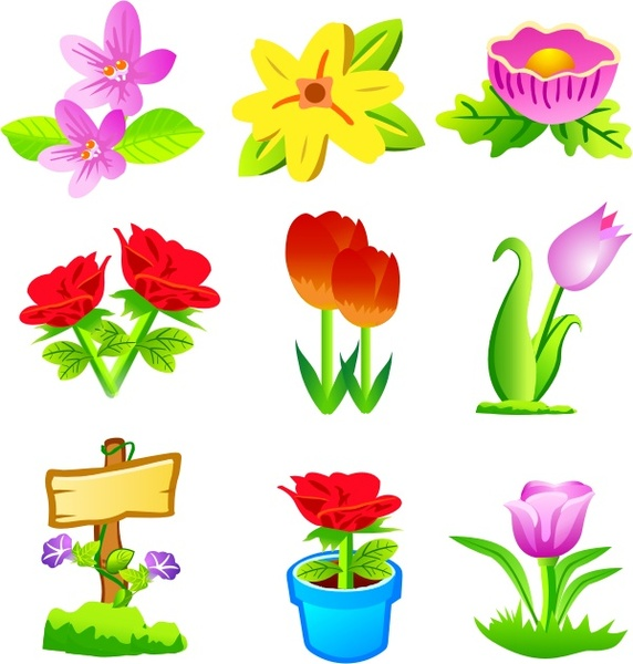 flowers icons collection flat colorful design