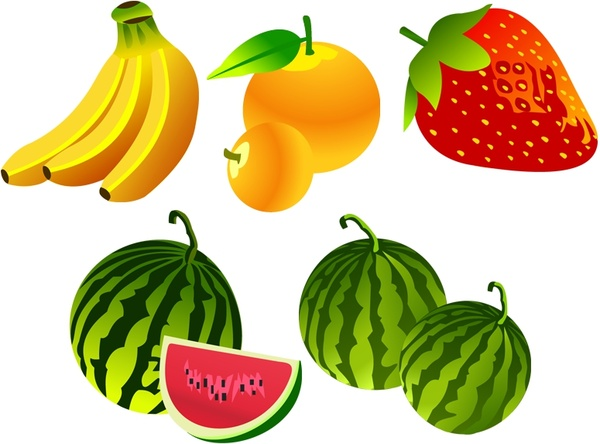 banana strawberry watermelon orange icons 3d colorful design