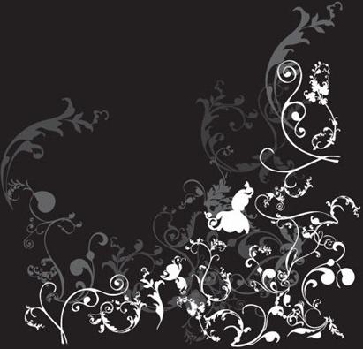 floral background classical curves decoration black white design