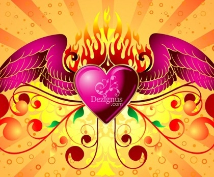 flaming winged heart icon colorful symbols decoration