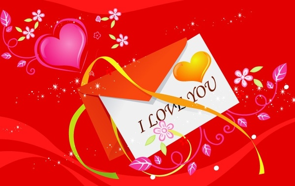 valentine envelope design colored hearts flowers curves ribbon decoration