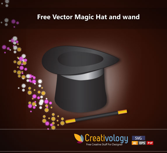 free vector magic hat and wand free vector in adobe illustrator ai