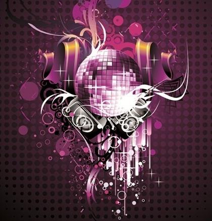 musical theme sparkling violet design disco baubles decoration