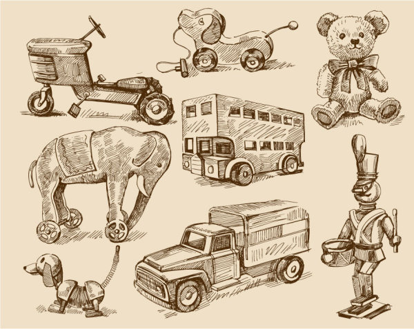 free vector vintage children8217s toys