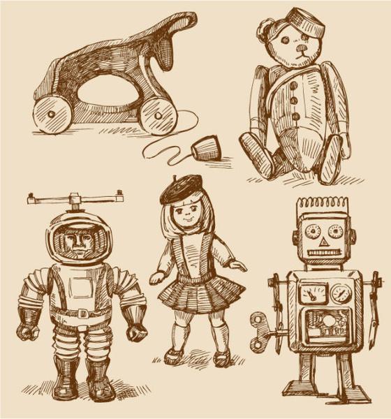 free vector vintage children8217s toys