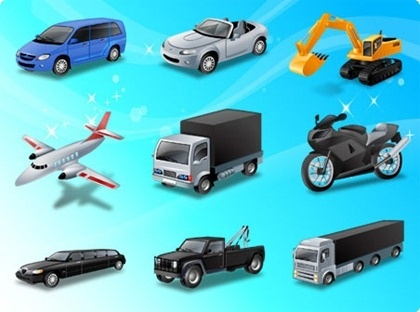 vehicles icons collection colored realistic design