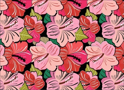 hibiscus flowers pattern background colorful seamless style