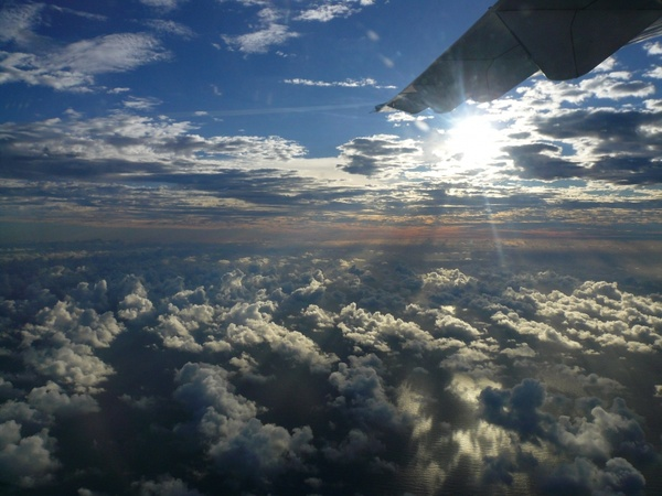 french caribbean sky aircraft flight clouds