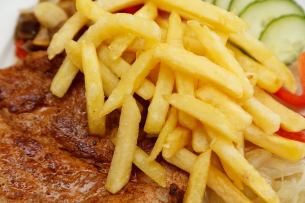 french fries and steak detail