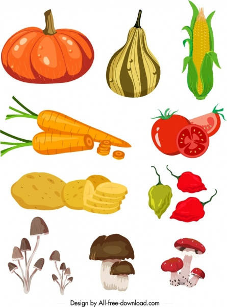 fresh agricultural products icons colorful vegetables fruits sketch
