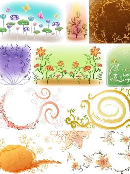 fresh flowers handpainted background vector case 2