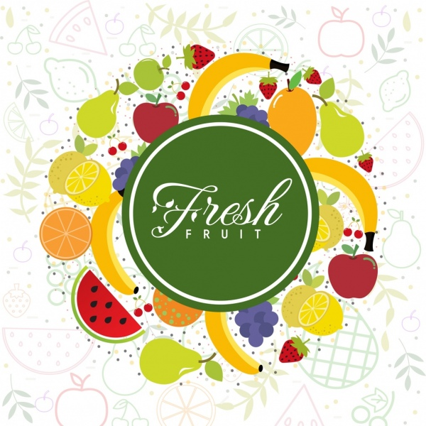 Fresh Fruits Background Various Colored Icons Decor Free Vector In Adobe Illustrator Ai Ai Format Encapsulated Postscript Eps Eps Format Format For Free Download 4 27mb
