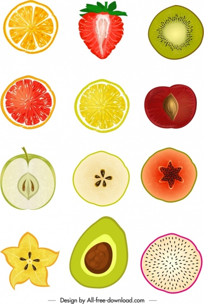 fresh fruits icons sliced design colored flat handdrawn