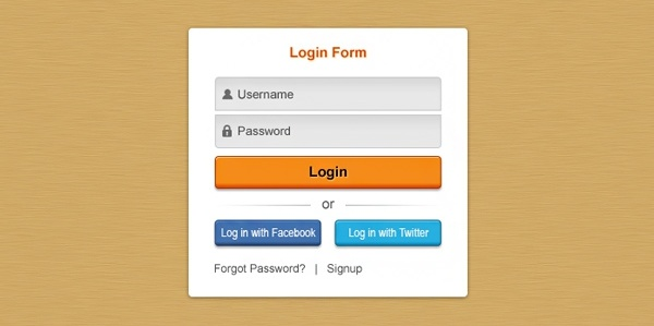 fresh login box psd layered