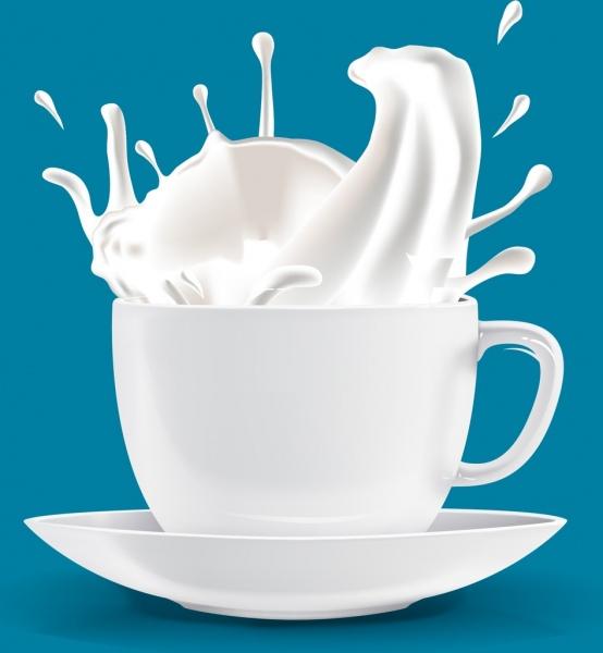 fresh milk promotion banner white splashing cup decoration
