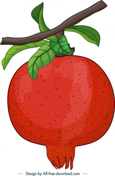 fresh pomegranate fruit painting classical colorful closeup design