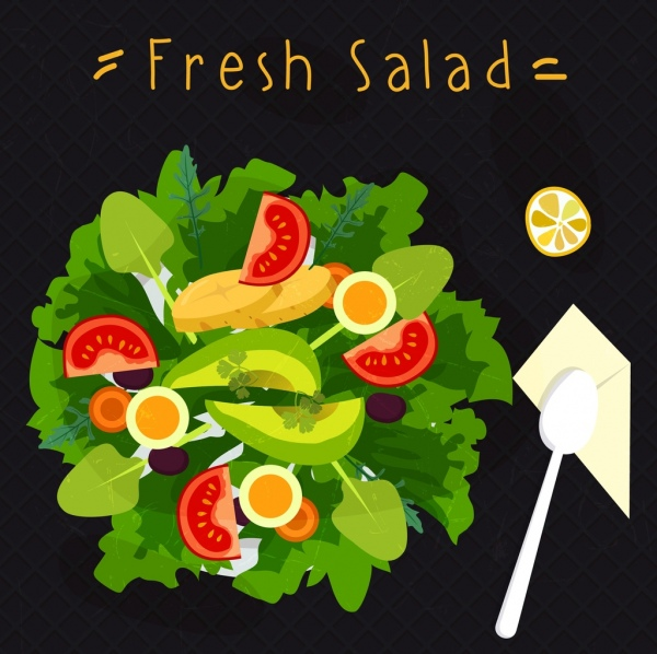 fresh salad advertising vegetable dish icon decor